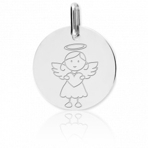 Médaille My Angel Fille, Or blanc 9 ou 18 carats - Lucas Lucor