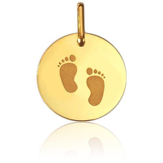 Médaille pieds d'enfant, Or jaune 9 ou 18 carats - Lucas Lucor