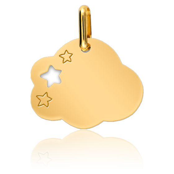 Pendentif nuage étoilé, Or jaune 9 ou 18 carats - Lucas Lucor
