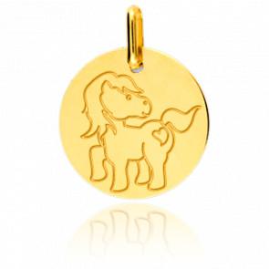 Médaille Poney, Or jaune 9 ou 18 carats - Lucas Lucor