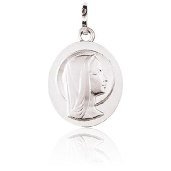 Médaille Sainte Vierge de profil, Or blanc 9K - Emanessence