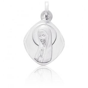 Médaille Vierge en prière, Or blanc 9 ou 18K - Emanessence