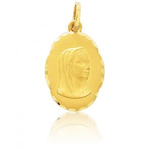 Médaille Vierge, facettée, Or jaune 18K - Emanessence