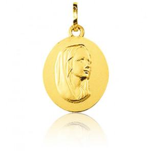 Médaille Sainte Vierge, ovale, Or jaune 9K - Emanessence