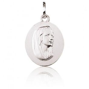 Médaille Sainte Vierge, ovale, Or blanc 9K - Emanessence