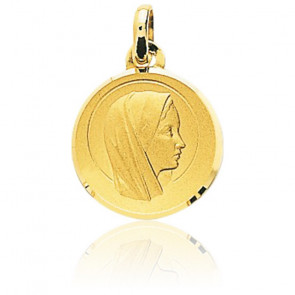 Médaille Vierge Marie auréolée, Or jaune 18K - Emanessence