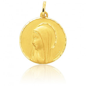 Médaille Ronde Vierge Profil Or Jaune - Emanessence