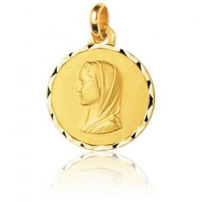 Médaille Vierge Marie de profil, Or jaune 9K - Emanessence