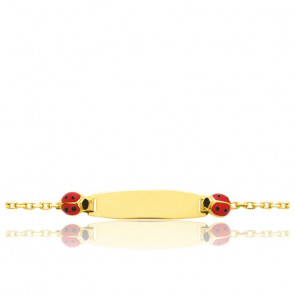 Gourmette duo coccinelles, Or jaune 18 carats - Bambins
