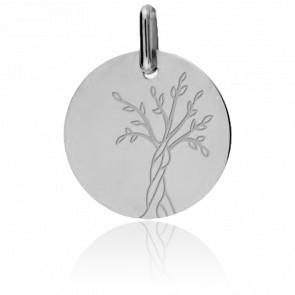 Médaille Arbre de Vie 20 mm, Or Blanc 18K - Lucas Lucor