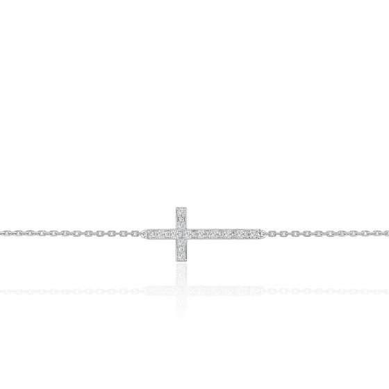 Bracelet Croix Or Blanc 18K & Diamants - Joelli