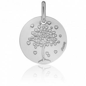 Médaille Arbre de Vie Cœur, Or Blanc 18K - Augis