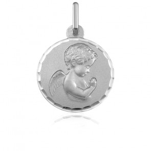 Médaille Ange Facetté, Or Blanc 9K - Argyor