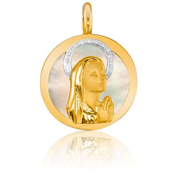 Médaille Vierge En prière, 2 Ors 18K et Nacre - Vandona
