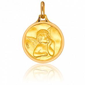 Médaille Ange Raphaël, bord cachet, Or jaune 18K - Augis