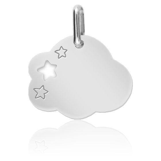Pendentif nuage étoilé, Or blanc 9 ou 18 carats - Lucas Lucor