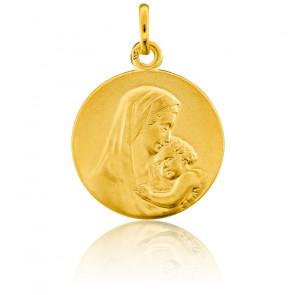 Médaille Ronde Vierge à l'Enfant Or Jaune 18K - Emanessence
