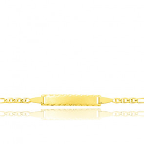 Gourmette maille Marine alternée, Or jaune 18K - Bambins