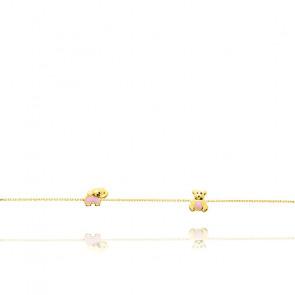 Bracelet enfant animaux, Or jaune 18K et émail rose - Bambins