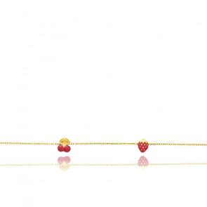 Bracelet enfant fruité, Or jaune 18K et émail rouge - Bambins
