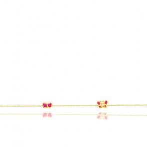 Bracelet animaux, Or jaune 18K et émail rouge - Bambins