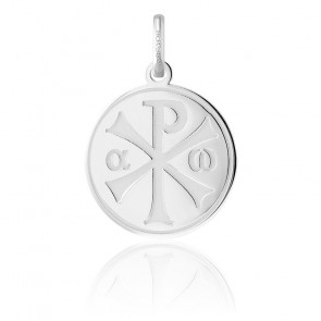 Médaille Chrisme finition polie, Or blanc 18K - Argyor