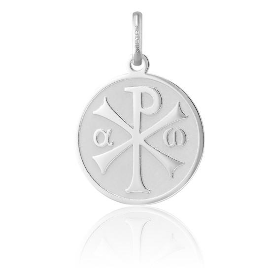 Médaille Chrisme finition sablée, Or blanc 18K - Argyor