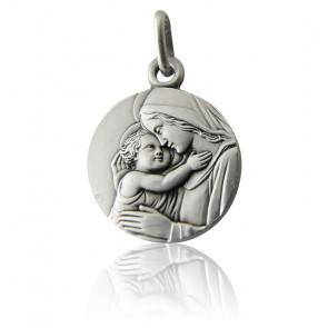 Médaille Vierge à l'enfant, Argent massif - Martineau