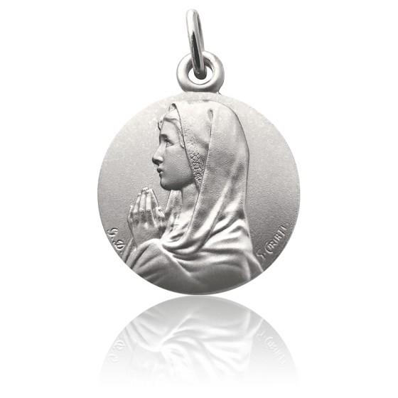 Médaille Virgo Maria Mains Jointes, Argent massif - Martineau