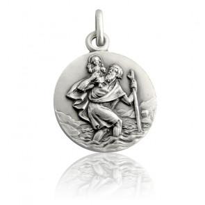 Médaille Saint Christophe penché, Argent massif - Martineau