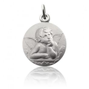 Médaille Ange Raphaël et nuages, Argent massif - Martineau