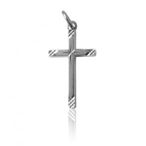 Pendentif Croix Striée, Argent - Martineau