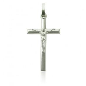 Pendentif croix biseautée Christ, Argent - Martineau