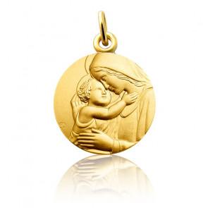 Médaille Vierge à l'Enfant, Or jaune 18 carats - Martineau