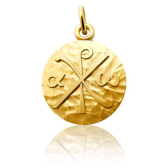 Médaille Chrisme, Or jaune 18 carats - Martineau