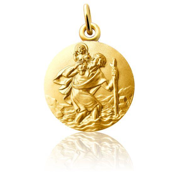 Médaille Saint Christophe marchant, Or jaune 18K - Martineau