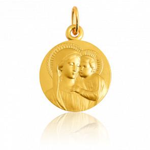 Médaille Vierge à l'Enfant auréolée, Or jaune 18K - Martineau