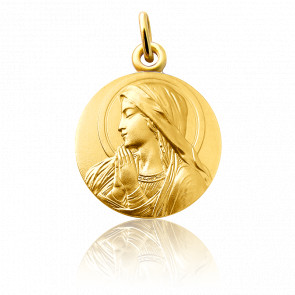 Médaille Vierge mains jointes, Or jaune 18K - Martineau