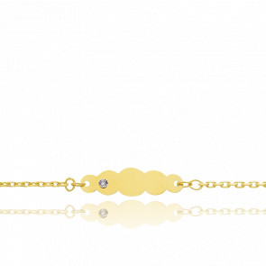 Gourmette nuage diamanté, Or jaune 9 carats - Bambins