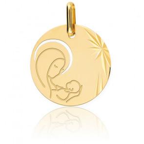 Médaille Vierge Maternité, Or jaune 9 ou 18K - Lucas Lucor