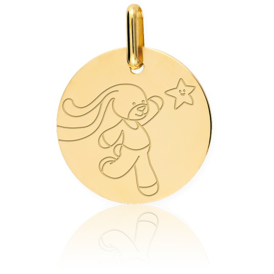 Médaille lapin, Or jaune 9 ou 18 carats - Lucas Lucor