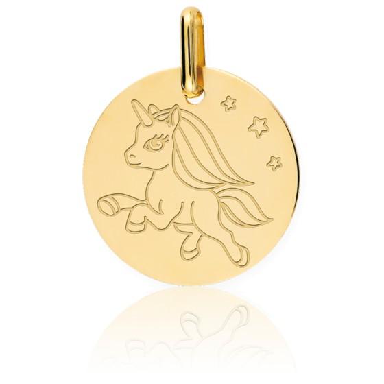 Médaille licorne, Or jaune 9 ou 18 carats - Lucas Lucor