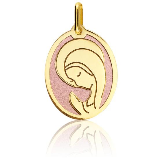 Médaille Vierge Marie, Or jaune 18K & acier rose - Lucas Lucor