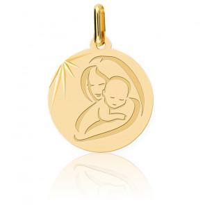 Médaille Vierge à l'Enfant Moderne, Or Jaune 9 ou 18K - Lucas Lucor