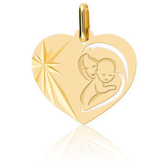 Médaille Cœur Vierge à l'Enfant, Or Jaune 9 ou 18K - Lucas Lucor