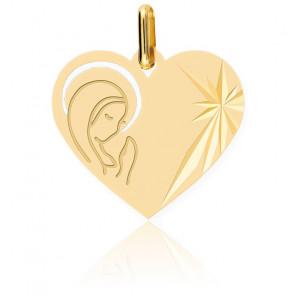 Médaille Cœur Vierge Auréolée, Or Jaune 9 ou 18K - Lucas Lucor