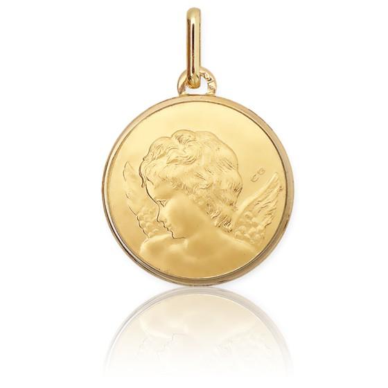 Médaille Ange de profil, Or jaune 9 ou 18 carats - Lucas Lucor
