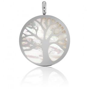 Médaille Arbre de Vie, Nacre & Or Blanc - Vandona