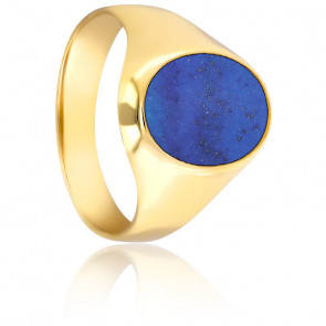 Chevalière Ovale Lapis Lazuli 11 x 14 mm, Or Jaune 18K - Emanessence