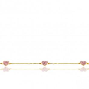 Bracelet cœurs roses pailletés, Or jaune 9 carats - Bambins